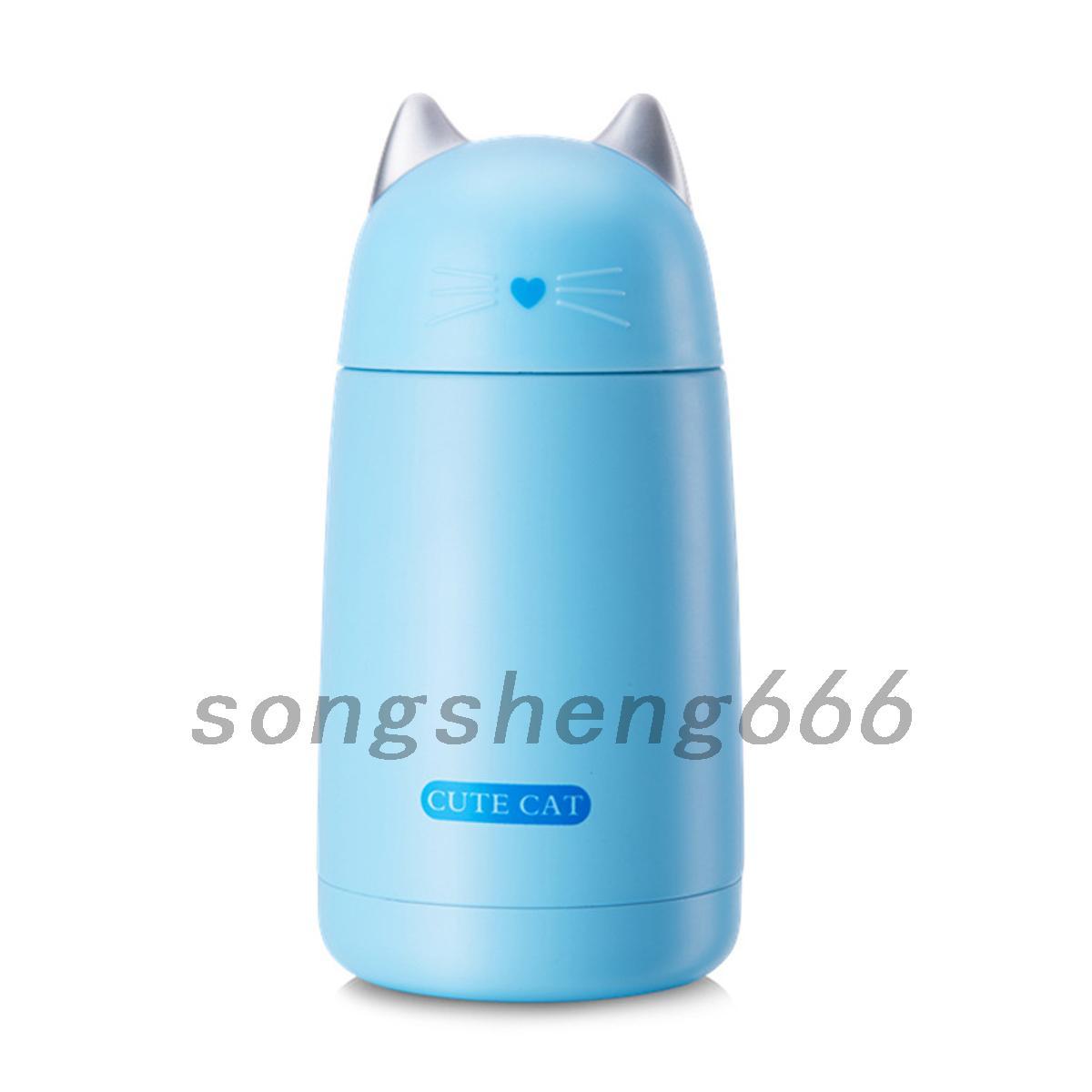 Kids Stainless Steel Thermos Cup Cartoon Cat Vacuum Flask Water Bottle 330ML UK